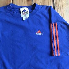 Vintage Adidas Men's Medium 90s Blue Orange 3 Stripe T-Shirt Retro Spell Out