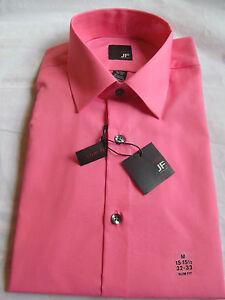 NWT Men's J.Ferrar LONG SLEEVE DRESS SHIRT sz 15-15 1/2 32-33 Slim Fit Pink