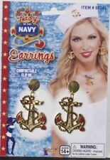 Red White and Blue Lady in the Navy GOLD ANCHOR EARRINGS  218