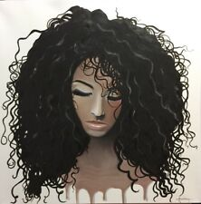 African Girl Art Portrait 20x20 Canvas Oil Painting By Arsenio Echevarria