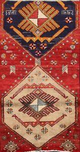 Vintage Geometric Ardebil Hand-knotted Tribal Area Rug Wool Oriental Carpet 3x5