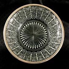 Vintage Large Glass Bowl & Silver Plate Rim Jewish Star of David Mid Century