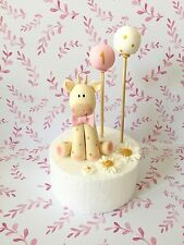 Edible Baby Giraffe Cake Topper With Two Balloons For First Birthday Cake