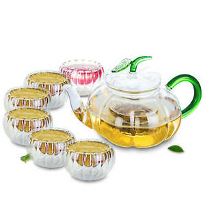 Pumkin Style Clear Glass Teapot with 6PCS Double Walled Teacups Set