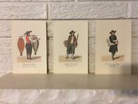 3 Lithographs of 1808 WATERCOLOR ENGRAVINGS by Christopher Suhr German folk life