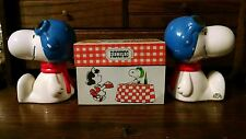 """Vintage Peanuts Snoopy """"Flying Ace"""" Bookends, Hallmark Recipe Tin & Coin Bank"""