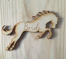 80 x Personalised Horse wooden wedding name place cards; anniversary table decor