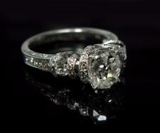 Antique Women Cushion Mine Cut Diamond Engagement Ring 1.9CTW 18K White Gold