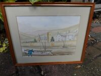 Framed Watercolour Painting Harbour at Low Tide Signed MC