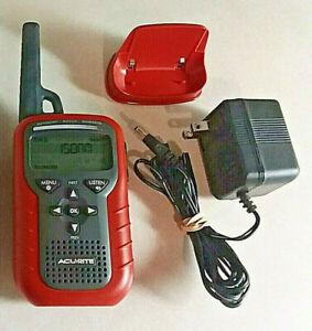 ACU-RITE WEATHER ADVISORY HANDHELD RADIO 8550 RED W/PLUG IN & BASE POWER SEAT