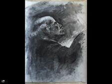 Original large charcoal drawing-Art 65x50cm Male figure-old man-portret