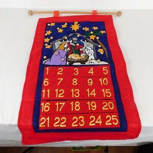 Christmas Advent Calendar Nativity Creche Cloth Felt Hanging Wood Rod Red FLAW