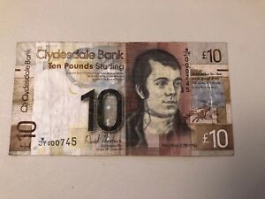 CLYDESDALE BANK £10. 2009 Paper Note.W/JT 000 745 Lowest No. Used Condition