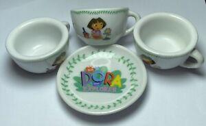 Dora The Explorer Porcelain Tea Set Dishes 4  Miniature Pieces 2005 Viacom