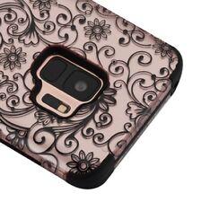 SAMSUNG GALAXY S9 G960 ROSE GOLD CLOVER FLOWER TUFF 3PIECE SHOCK CASE COVER