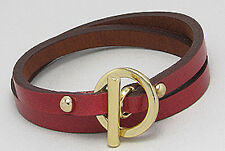 Maroon Red Leather Wraparound Gold Plated Stainless Steel Toggle Bracelet