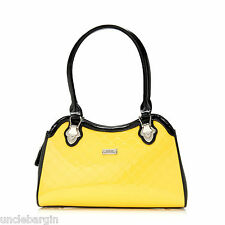 Serenade Yellow Monroe Print Leather Handbag (H70-9791)