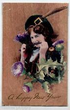 Irish Girl w Flowers Happy New Year TUCK series C1377 PC Circa 1915 UK