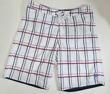 swimsuit Speedo Swim Trunks Mens XL  White Red Blue Plaid  Shorts  X Large $58