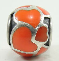 Authentic Pandora Sterling Silver Red Hot Love Charm Bead #790436ER