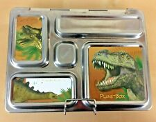 PlanetBox Rover Stainless Steel 5-Compartment Eco Lunch Box, Dinosaur Magnets