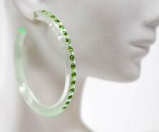 "2"" SLIM LADIES FASHION CLEAR GREEN HOOPS GREEN RHINESTONES ACRYLIC EARRINGS"