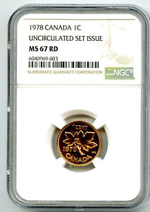 1978 CANADA CENT NGC MS67 RD COPPER UNCIRCULATED SET ISSUE COIN POP5 PENNY