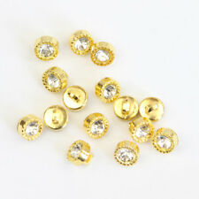 10mm Crystal Rhinestone Plastic Gold Tone Sewing Shank Buttons Craft DIY 30Pcs