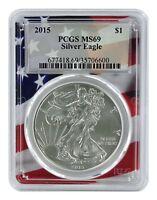 2015 1oz Silver Eagle PCGS MS69 - Flag Frame