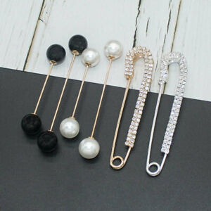 6 Pcs Women Brooch Pins Sweater Shawl Clip Faux Crystal Clothes Breast Badge Pin