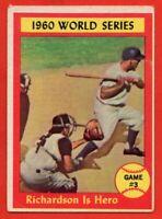 1961 Topps #308 Bobby Richardson VG-VGEX+ CREASE New York Yankees World Series
