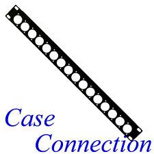 1HE Rackblende 16x D-Form - Stahl - schwarz - gekantet # XLR D-Type Rack Panel