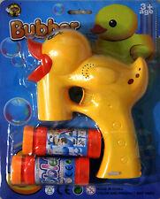 Yellow DUCK Bubble Gun Blower Blaster with Flashing LED Lights & Music 2 Refill