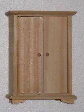Unfinished Wood Dollhouse Miniature Bedroom Wardrobe Dresser 1:12