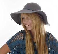 1 LADIES WIDE BRIM FLOPPY FASHION MELBOURNE CUP SUN HAT Wool Felt Grey Gray