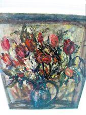 """SOURDILLON Berthe (1895-1976) """"Le bouquet de tulipes"""" Belle huile ancienne/toile"""
