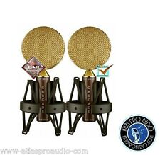 Cascade FAT HEAD Blumlein Microphone Stereo Pair Brown/Gold - New!
