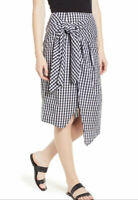 Soprano Skirt Large Black White Checkered Gingham Tie Waist