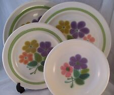Vintage Franciscan Interpace FLORAL 4pc Dinnerware Lot Plates 1970's USA Retro