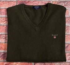 GANT Men V Neck Cotton Sweater Jumper TOP Size M