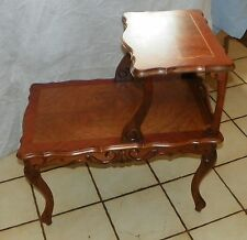 Mid Century Walnut Carved Inlaid Bookmatch Veneer Step End  / Side Table  (T306)