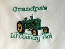 Personalized Embroidery Baby Blanket Grandpa's Country Girl and a Tractor
