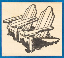 Two Adirondack Chairs Rubber Stamp - Outdoor Lawn Chairs for Relaxing Outside