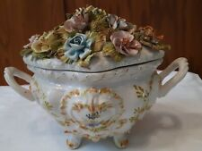 Antique/Vintage Poecelain Bowl With Handels And Lid W/Flowers Romania