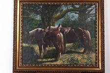 Peinture à l'huile, original signé A.KIMOVEC. Paire de cheveaux.
