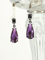 Earrings Nails Silver Drop Resin Faceted Purple Mauve Parma DD11