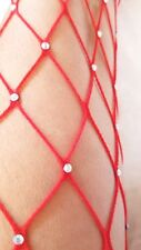 PLUS SIZE Fishnet RHINESTONE Pantyhose #275 RED Large Net Big Tall Sexy LINGERIE