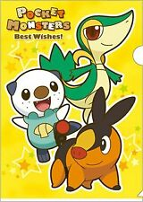 "Pokemon Clear File Folder ~12""x9""Snivy/Tsutarja, Oshawott/Mijumaru, Tepig/Pokabu"