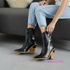 Women Leather Cowboy Ankle Boots Snake Print Western Wedge High Heels Shoes Size