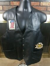 BULL GENUINE LEATHER VEST Harley Davidson WESTERN BIKER BLACK PATCH Mens Size XL
